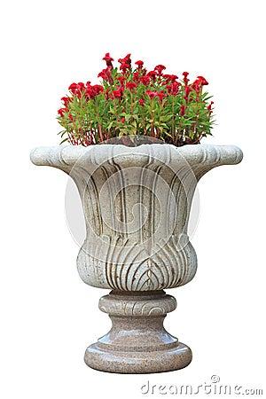 Ornamental  stone flowerpot