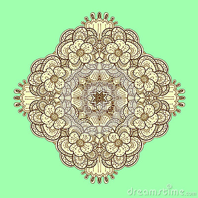 Ornamental symmetrical square lace pattern.