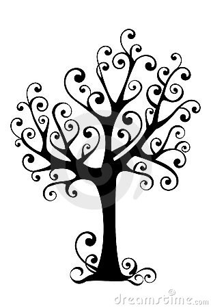 Ornamental tree silhouette