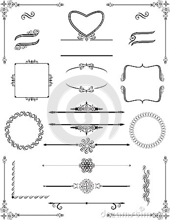 Free Ornamental Victorian Frames And Rule Lines. Vector. Stock Photo - 65445660