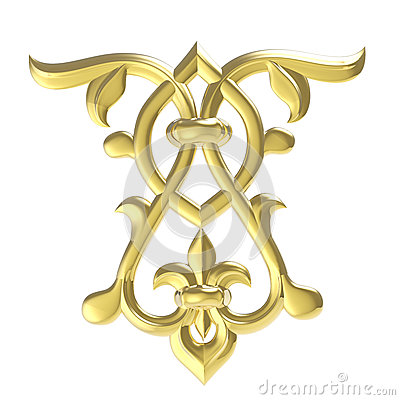 Free Ornamental Work Of Gold. Floral Design Element Royalty Free Stock Image - 48624956