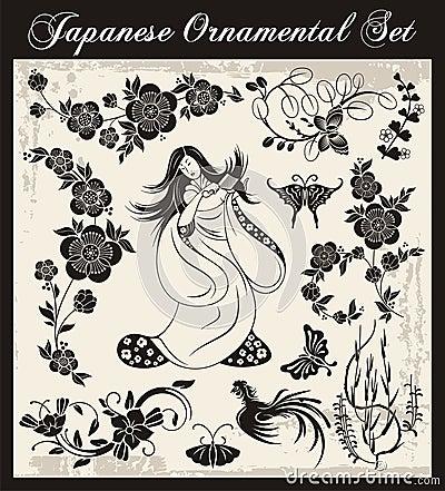 Ornamenti tradizionali giapponesi impostati fotografie for Ornamenti giardino