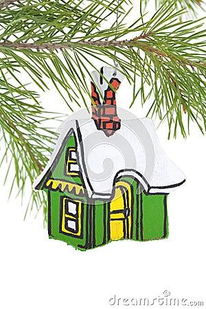 Ornamento de madera pintado de la casa