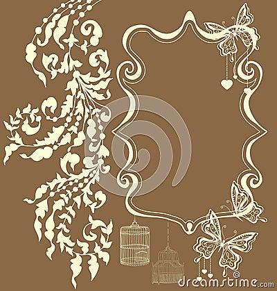 Ornamento floreale dell annata con il posto per testo, scheda del biglietto di S. Valentino
