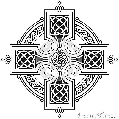 Ornamento tradicional de la cruz céltica del vector