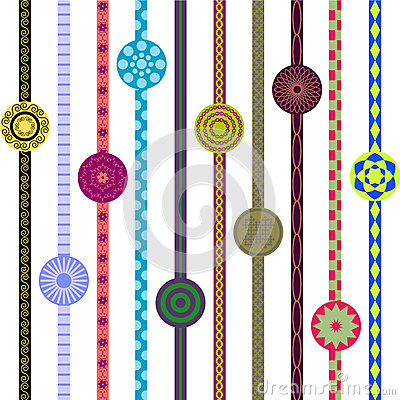 Ornaments on lines and circle
