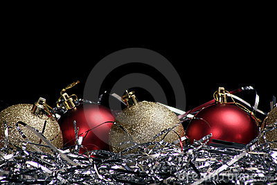 Ornaments with tinsel