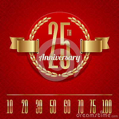 Ornate anniversary golden emblem