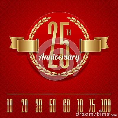 Ornate anniversary golden emblem