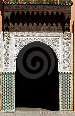 Ornate, Arched, Tiled, Moorish Style exterior door