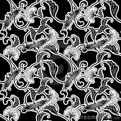 Ornate black and white repeating tile