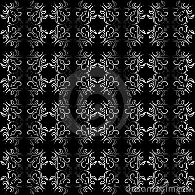 Ornate black and white seamless wallpaper   patter