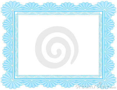 Ornate Blank Certificate in Blue