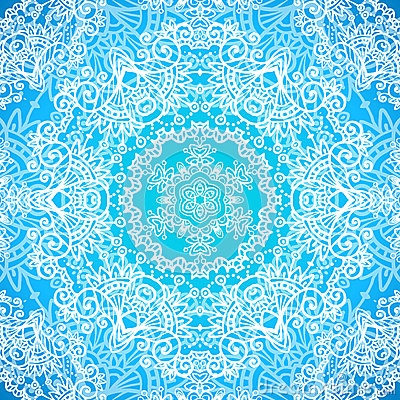 Ornate blue doodle vector seamless pattern