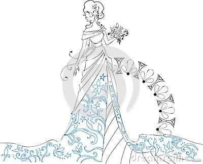 Ornate Bride  Silhouette hand drawing with bouquet