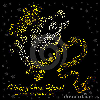 Ornate chinese New Year of stylized Dragon card