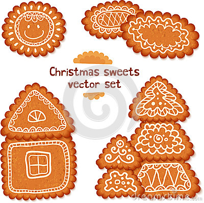 Ornate Christmas sweets vector set