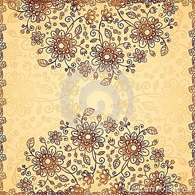 Ornate  doodle flowers background