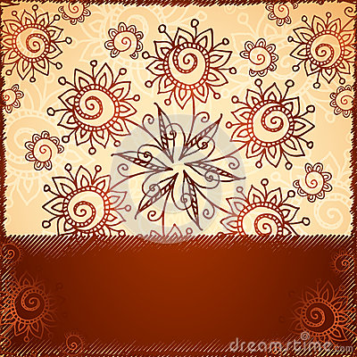 Ornate  doodle flowers background