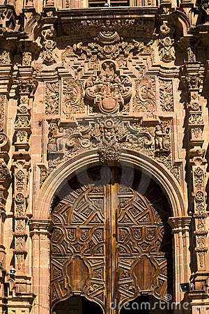 Ornate Door Valencia Church Guanajuato Mexico