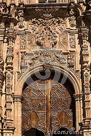 Ornate Door Valencia Church Guanajuato Mexico