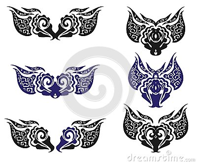 Ornate Eagle Head And The Elements Received From It Stock