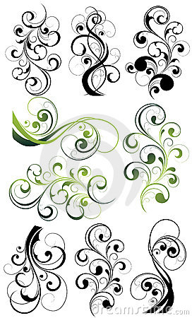 Ornate floral swirl set