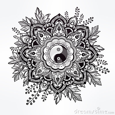 ornate flower with yin and yang symbol stock vector yin yang symbol vectorial yin yang symbol vectorial