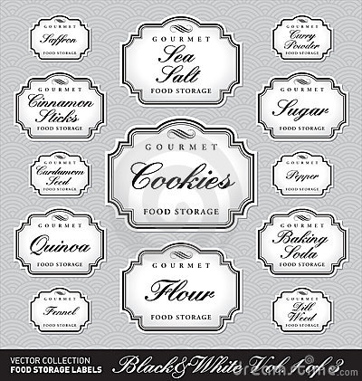 Ornate food storage labels vol1 (vector)