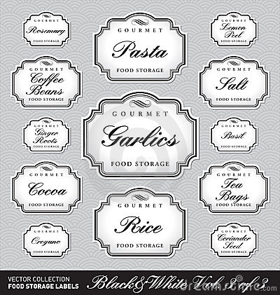 Ornate food storage labels vol3 (vector)