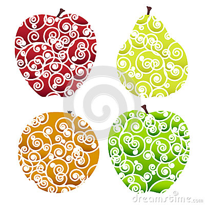 Ornate fruits icons