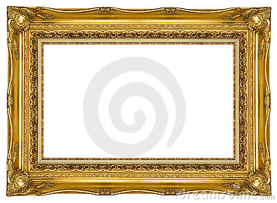 gold frame with a clipping path supplied