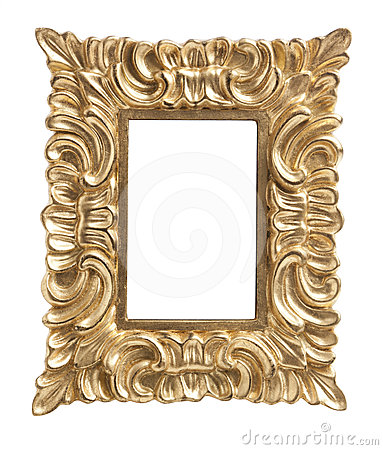 Ornate golden picture frame isolated