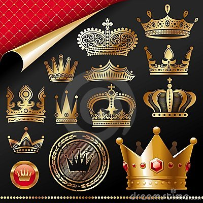 Ornate golden royal crowns