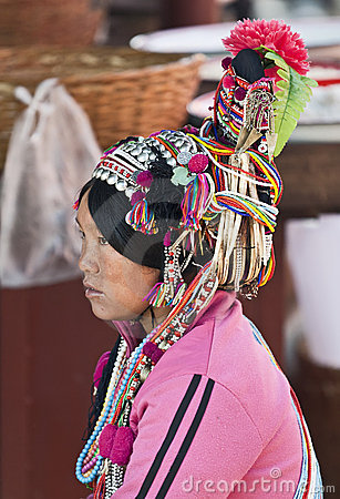 Ornate Headwear of Hani People Editorial Photography