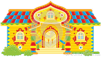Ornate log cabin Vector Illustration