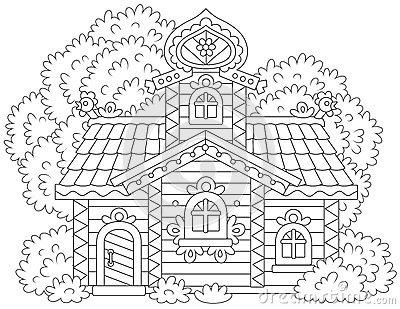 Ornate log cabin Vector Illustration