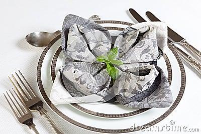 Ornate napkins on festive table