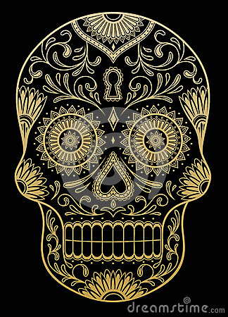 Free Ornate One Color Sugar Skull Stock Photos - 38877853
