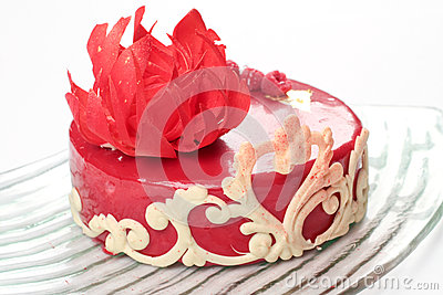 Ornate red velvet cake