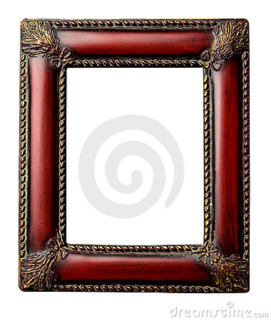 Ornate redwood antique picture frame with clipping