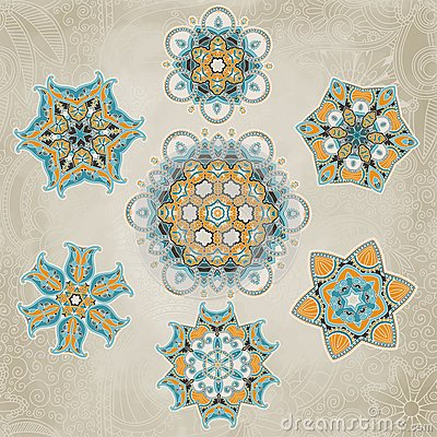 Ornate snowflakes vector set