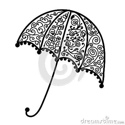 Ornate umbrella design, black silhouette