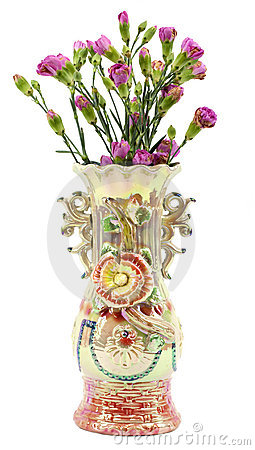 Free Ornate Vase With Pink Carnations On Stock Images - 22404364