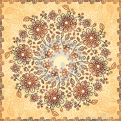 Ornate vector doodle flowers background