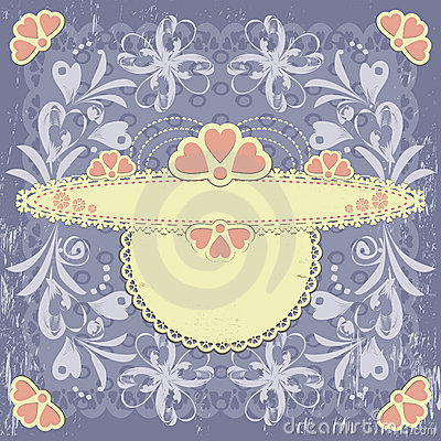 Ornate vintage floral frame on grange background