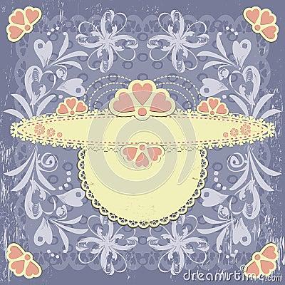 Ornate vintage floral frame on grange background