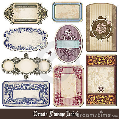 Ornate vintage labels