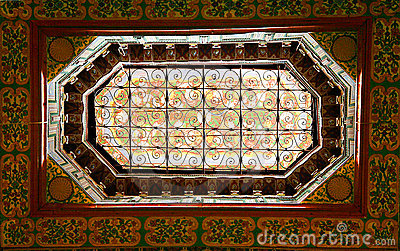 Ornate window in moroccan palace