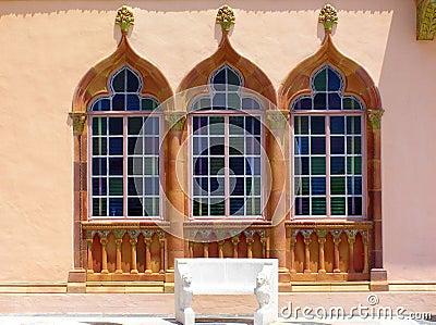Ornate Venetian Gothic windows, Ringling Museum